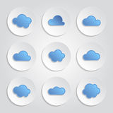 Set of blue clouds. Abstract icons - set of blue clouds Stock Photos
