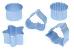 Set of blue color baking form Royalty Free Stock Photos