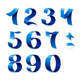 Set of  blue color shiny ribbon numbers on Stock Photography