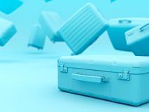Set of blue color suitcases mono colored concept copyspace. 3d render vector illustration