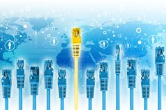 Set of blue computer cables with golden one Royalty Free Stock Images