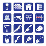 Set of blue construction set. Icons Royalty Free Stock Photography