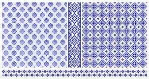 Set of blue cross stitched patterns and borders. Set of two blue ethnnic cross stitched seamless patterns and two borders royalty free illustration
