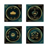 Set blue dark gold-framed labels Royalty Free Stock Image