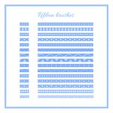 Set of blue decorative ribbons. Christmas ribbon brushes. Vector Christmas or New Year design element. stock illustration