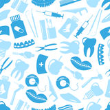 Set of blue dental theme icons blue seamless pattern Stock Images