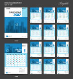Set Blue Desk Calendar 2017 year size  6 x 8 inch template. Set of 12 Months, flyer design Royalty Free Stock Photo