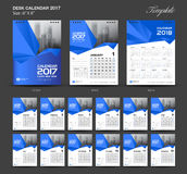 Set Blue Desk Calendar 2017 year size  6 x 8 inch template. Set of 12 Months, Week Starts Monday,  flyer design Royalty Free Stock Photo