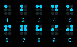 Set of blue digital braille number Stock Image