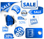 Set of blue discount elements Royalty Free Stock Photo