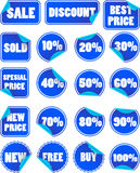 Set of blue discount price labels Royalty Free Stock Photo