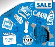 Set of blue discount tickets, labels Royalty Free Stock Photography
