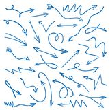 Set of blue drawing Arrows. Vector Illustration. Set of blue drawing Arrows and Vector Illustration Stock Images