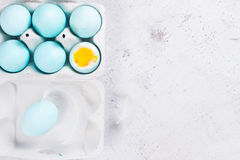 Set of blue easter eggs Stock Photo