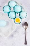 Set of blue easter eggs Stock Photos