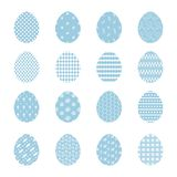 Set of blue Easter eggs with white decoration. Set of tender vector blue Happy Easter eggs with white decoration. Collection of egg icons with striped and dotted vector illustration