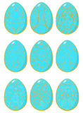 Set of blue Easter eggs with yellow pattern Royalty Free Stock Images