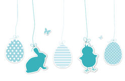 Set of blue easter hangtags Stock Image