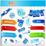 Set of blue ecology icons. Royalty Free Stock Image
