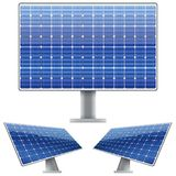 Set of Blue electric solar panel for sun light. Royalty Free Stock Photo
