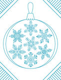Set of 7 blue elegant geometric snowflakes in christmas ball shape Stock Image
