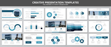 Set of blue elements for multipurpose presentation template slides with graphs and charts. Leaflet, corporate report. Vector template for multipurpose Royalty Free Stock Images