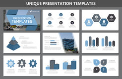 Set of blue elements for multipurpose presentation template slides with graphs and charts. Leaflet, corporate report. Vector template for multipurpose Stock Photo