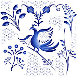 Set blue ethnic elements for design in gzhel style. Twigs, flowers and birds isolated on white background. Royalty Free Stock Image