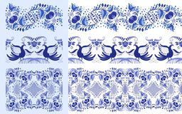 Set of blue ethnic patterns in the style of national porcelain painting. Ornaments with flowers and birds isolated on white. Vector illustration royalty free illustration