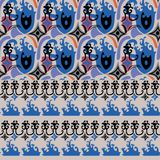 Set of blue ethno patterns. Set of two abstract blue ethno seamless patterns with large and small details Stock Photos