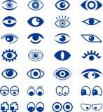 Set of blue eye signs. Illustrated set of blue eye signs isolated on white background Stock Photo