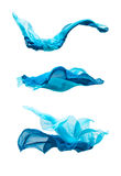 Set of blue fabric in motion Royalty Free Stock Photos