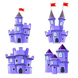 Set of blue fairy castles. Set of four editable blue castles for game design Stock Image