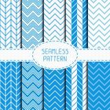 Set of blue fashion geometric seamless pattern Royalty Free Stock Image