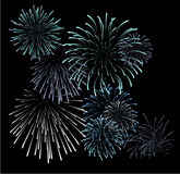 Set of blue fireworks illustrations. On black background (vector Royalty Free Stock Photo