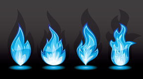 Set of blue flame. Set of a fire icons, illustration Stock Image