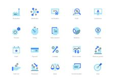 Set of blue flat business icons with darker blue accent royalty free illustration