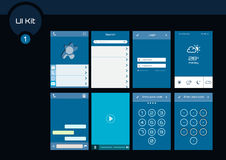 Set of blue flat design ui elements for mobile app and web design. Stock Photos