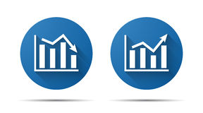 Set of blue flat icon of graph Royalty Free Stock Photography