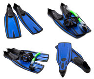 Set of blue flippers, mask, snorkel for diving with water drops Royalty Free Stock Images
