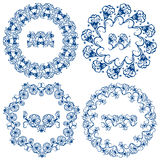 Set of  blue floral circle frames. Stock Photo