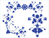 Set of blue floral elements Stock Photos