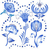 Set of blue floral elements for design in the style of Gzhel. Royalty Free Stock Photos