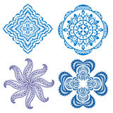 Set of blue floral ornaments Royalty Free Stock Images