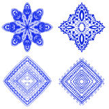 Set of blue floral ornaments Stock Photography