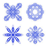 Set of blue floral ornaments Stock Photos