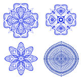 Set of blue floral ornaments Royalty Free Stock Photography