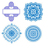 Set of blue floral ornaments Stock Images