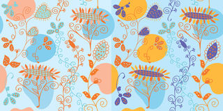 Set  of blue floral seamless patterns Royalty Free Stock Images