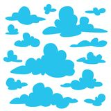 Set of blue fluffy clouds silhouettes on white background. Vector illustration in flat cartoon style. Elements for your design, artwork, scene, website Stock Image